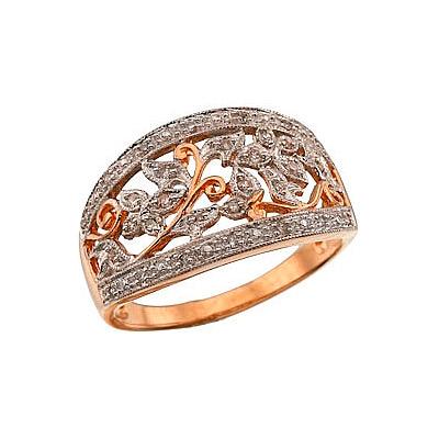 Артикул: 35366.  Кольцо с бриллиантами.  Красное золото.