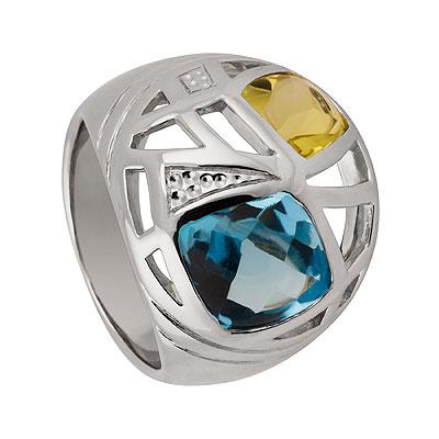 Кольцо из серебра Sandara LUX.  Топаз, цитрин, Серебро 925.