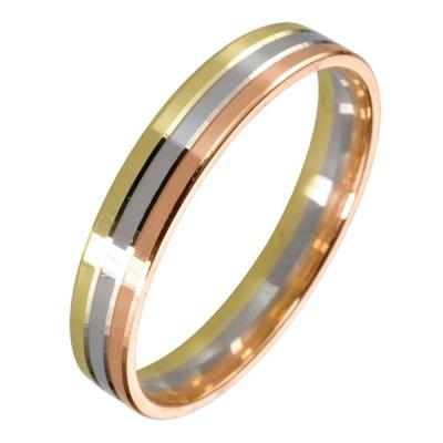 ...кольцо из белого, красного и желтого золота с алмазной гранью.